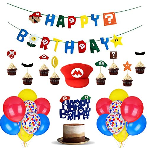 Mario Birthday Party Pack Banner Balloon Super Mario Bros Hat Happy Birthday Banner Party Supplies Decoration Nintendo Birthday Party Decoration Kit Children Buy Products Online With Ubuy Belgium In Affordable
