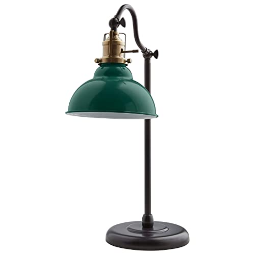Stone & Beam Walters Vintage Task Table Desk Lamp With LED Light Bulb - 7 6  x 10 x 19 9 Inches, Green