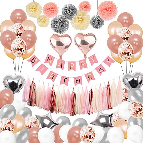Birthday Decorations Puchod Party Decoration Kit 100pcs Happy Confetti Balloons With Paper Pom