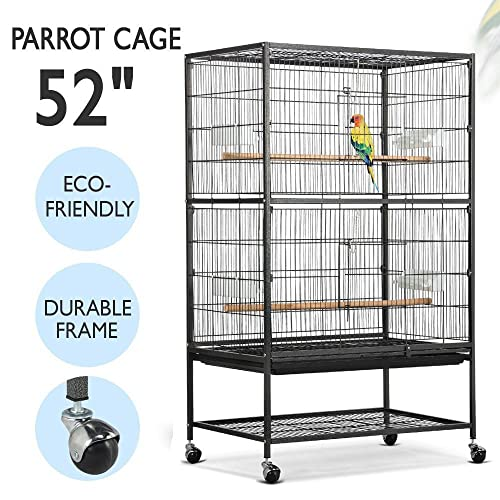 7e8677506 Yaheetech 52 quot  Wrought Iron Standing Extra Large Bird Cage for African  Grey Quaker Amazon Parrots