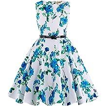 5c3538e85 Kate Kasin Girls Sleeveless Vintage Print Swing Party Dresses 6-15 Years